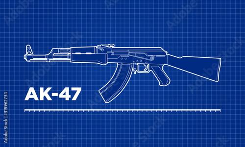 AK-47 Kalashnikov machine gun blueprint vector illustration. Canvas Print