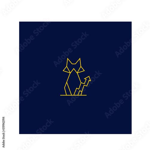 Fototapeta  cat logo character geometric mascot design obraz na płótnie
