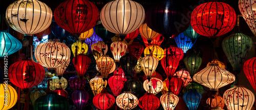Leinwand Poster Colorful Lanterns displayed at Hoi An, Vietnam