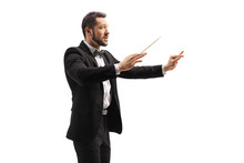 Male Conductor In A Suit Condu...