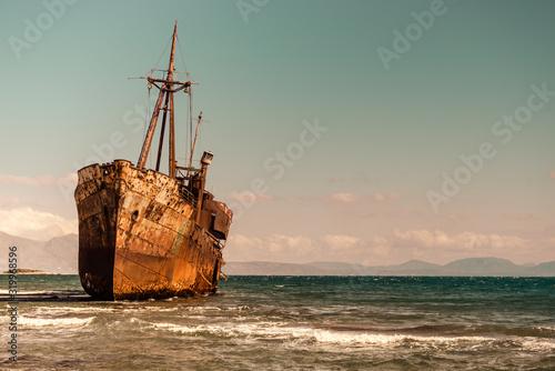 The famous shipwreck near Gythio Greece Canvas Print