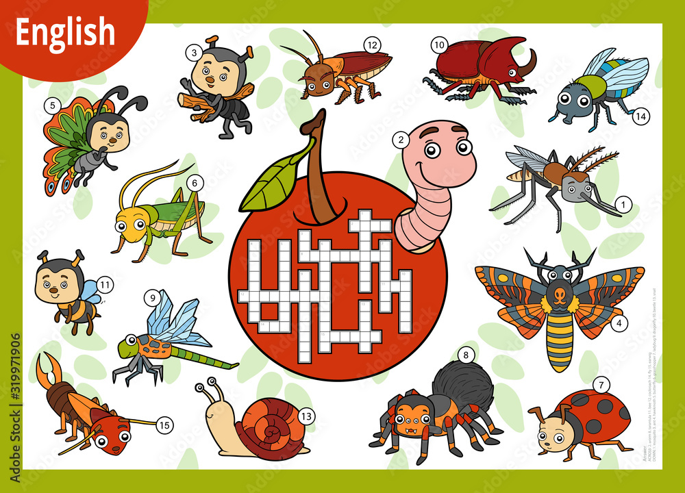 Fototapeta Vector crossword in English, education game for children. Cartoon set of insects and little animals