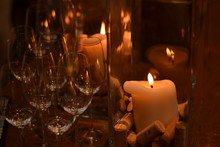 Lit Candle By Wineglass
