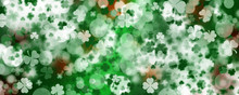 Green Patricks Day Greeting Banner With Green Clovers. Patrick's Day Holiday Design. Horizontal Background, Headers, Posters, Cards, Website