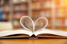 Close Up Book Image In Heart S...