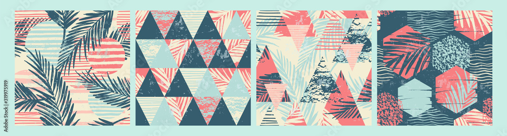 Set of tropical and sea seamless patterns with hand texture and geometric elements. <span>plik: #319975919 | autor: Nadezda Grapes</span>