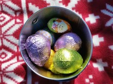 High Angle View Of Easter Eggs In Bucket