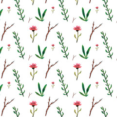 Panel Szklany Przyprawy Watercolor pattern of flowers and herbs. Hand drawing.