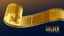Golden Film Reel Strip In 3d S...