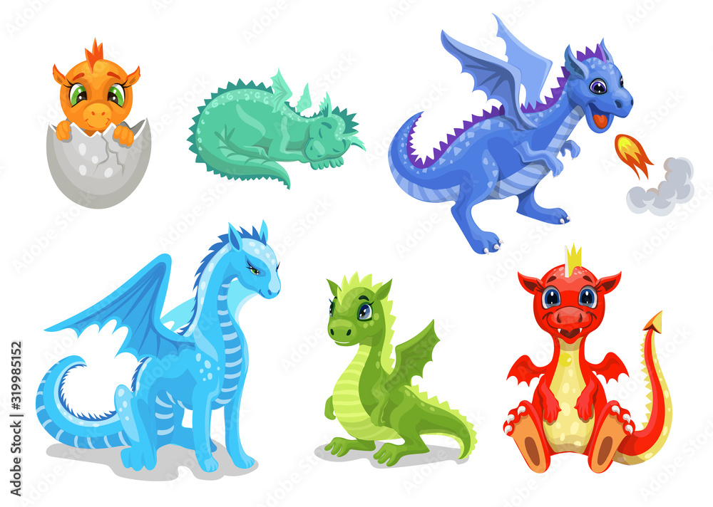 Fototapeta Cartoon dragon set. Fairy cute dragonfly icons collection. Baby fire dragon or dinosaur cute characters isolated vector. Fairytale monsters.