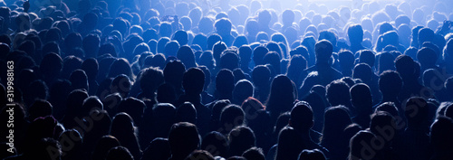 Canvas Print High Angle View Of People Enjoying During Music Festival