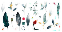Set Watercolor Leaves , Wild H...