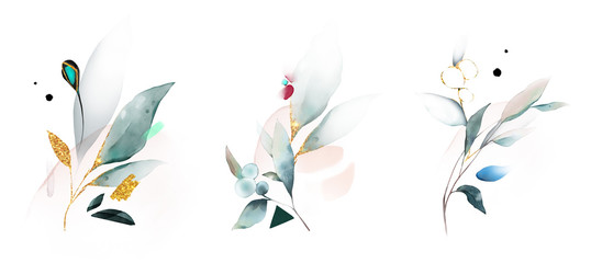 watercolor arrangements with leaves, herbs.  herbal illustration. Botanic com...