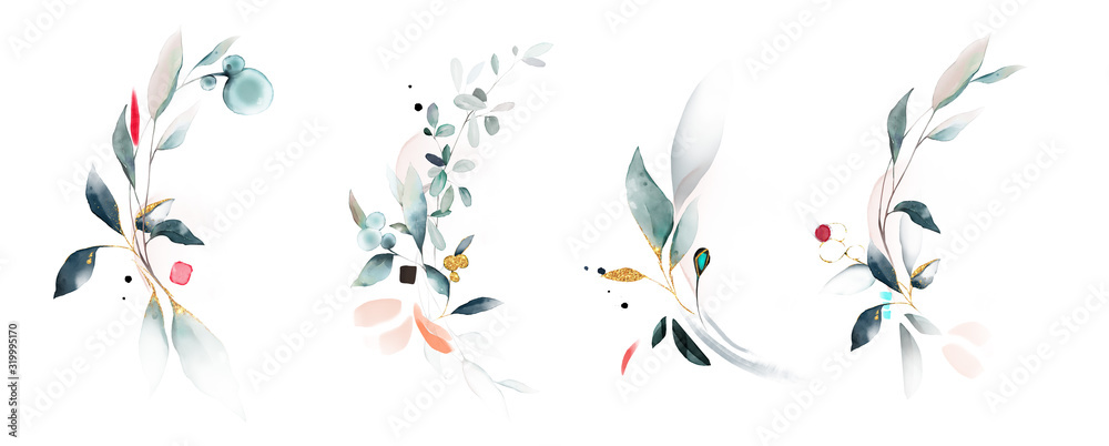 Fototapeta  watercolor arrangements with leaves, herbs.  herbal illustration. Botanic composition for wedding, greeting card.