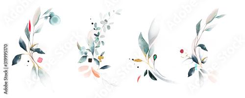 Fototapeta  watercolor arrangements with leaves, herbs.  herbal illustration. Botanic composition for wedding, greeting card. obraz