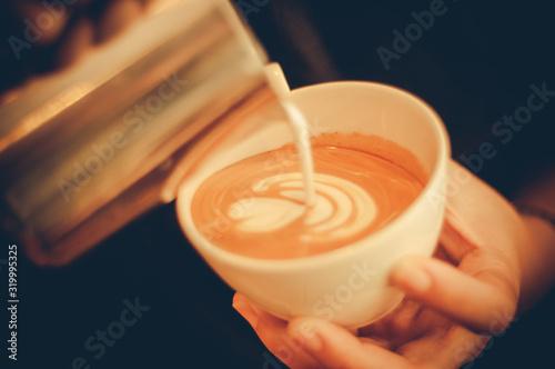 Obraz CLOSE-UP OF person making coffee - fototapety do salonu