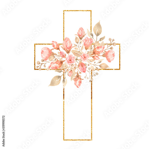 Fotografia Watercolor Easter Cross Clipart, Spring Coral Floral Arrangements, Baptism Crosses DIY Invitation, Greenery Easter clipart, Holy Spirit