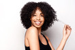 Cheerful African American beauty with natural hairstyle