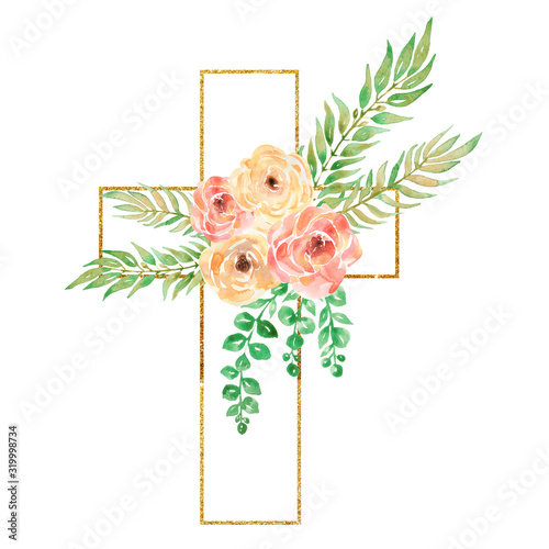 Fotografía Watercolor Easter Cross Clipart, Spring Floral Arrangements, Baptism Crosses DIY
