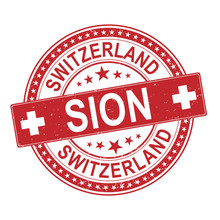 Sion Switzerland Rubber Stamp Icon Logo On A White Background