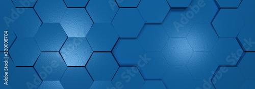 Fototapeta tło classic blue kolor roku 2020 z połyskien hexagon obraz