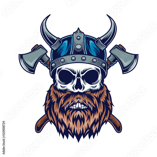 Photo Skull Viking Vector Illustration