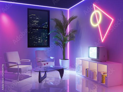 Obraz 80s retro neon futuristic inspired room - fototapety do salonu