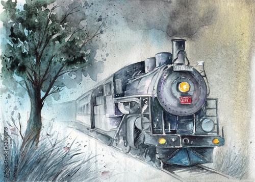 akwarela-ilustracja-lokomotywy-parowej-w-szaro-zielonych