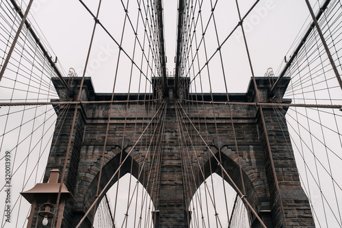 Fototapeta The Brooklyn Bridge from New York City in Winter I obraz na płótnie