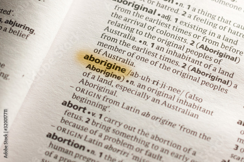 Photo The word or phrase Aborigine in a dictionary.