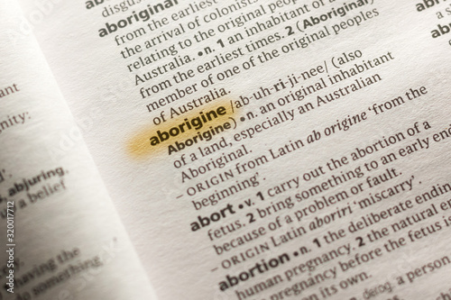 The word or phrase Aborigine in a dictionary. Canvas Print