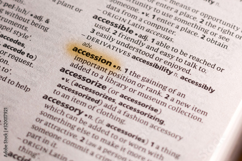 The word or phrase Accession in a dictionary. Canvas Print