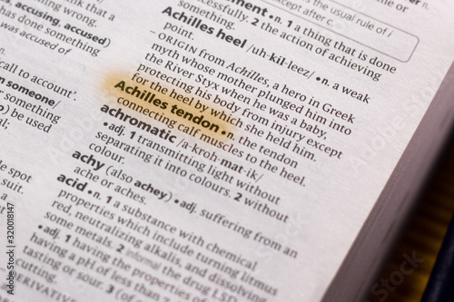 The word or phrase Achilles Tendon in a dictionary. Wallpaper Mural