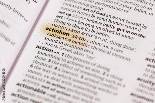 The word or phrase Actinium in a dictionary. Canvas Print