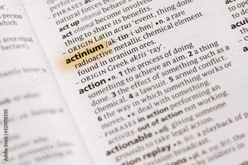 The word or phrase Actinium in a dictionary. Wallpaper Mural