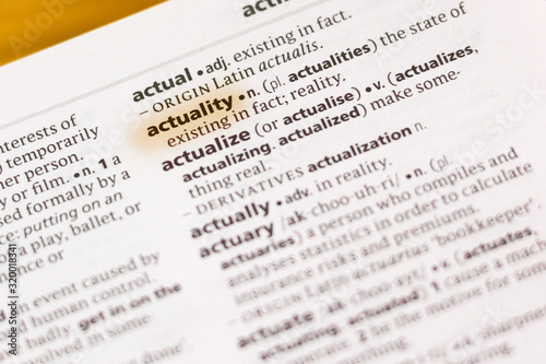 Photo The word or phrase Actuality in a dictionary.