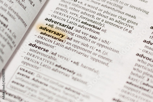 The word or phrase Adversary in a dictionary. Canvas Print