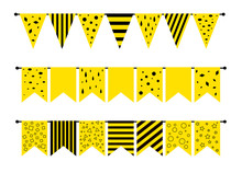Set Of Yellow Flags With Geometric Patterns For Decorating The Holiday, Party, Children's Party. Flag Garland For Festival, Birthday. Illustration Isolated On White Background