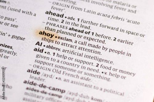 Photo The word or phrase Ahoy in a dictionary.