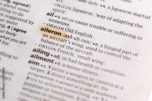 The word or phrase Aileron in a dictionary. Canvas Print