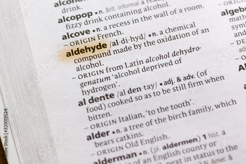 Photo The word or phrase Aldehyde in a dictionary.