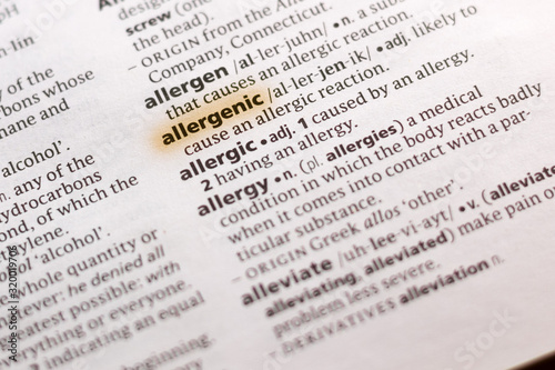 Photo The word or phrase Allergenic in a dictionary.