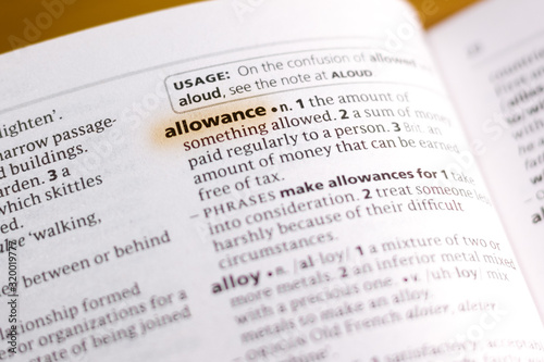 Photo The word or phrase Allowance in a dictionary.