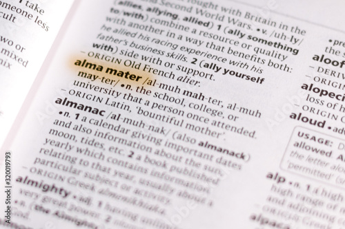 The word or phrase Alma Mater in a dictionary. Canvas Print