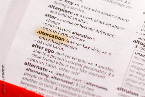 The word or phrase Altercation in a dictionary. Canvas Print