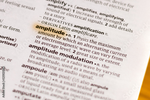The word or phrase Amplitude in a dictionary. Canvas Print