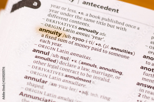 The word or phrase Annuity in a dictionary. Canvas Print