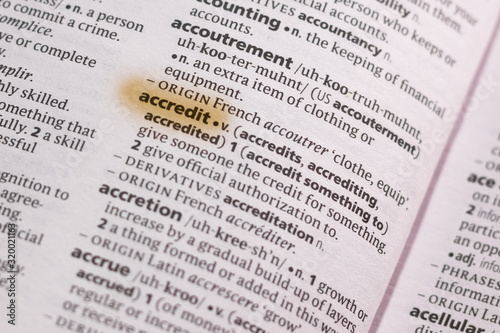Photo Ivanovsk, Russia - November 19, 2018: The word or phrase Accredit in a dictionary