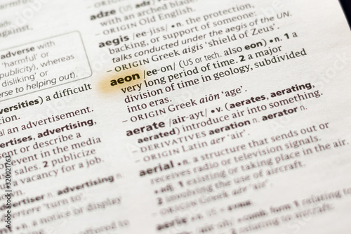 Photo Ivanovsk, Russia - November 19, 2018: The word or phrase Aeon in a dictionary
