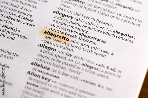 Photo Ivanovsk, Russia - November 19, 2018: The word or phrase Allegretto in a dictionary